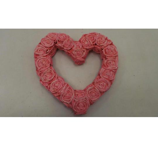 Joblot of 24 Handmade Pink Sola Rose Heart Wreaths