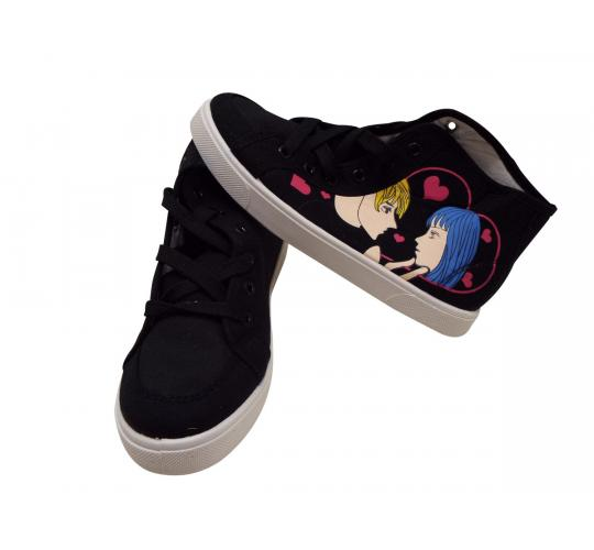 Wholesale Joblot of 10 Black Ladies Anime Style High Top Trainers (5007)
