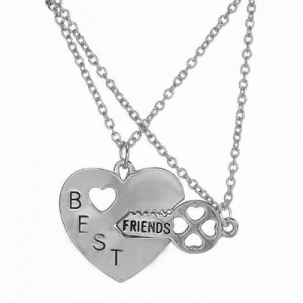 One Off Joblot of 15 Best Friend Heart & Key Duo Necklaces Silver