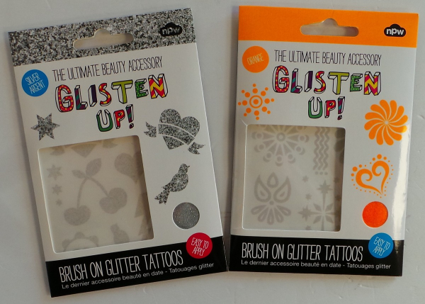 Wholesale Joblot of 100 NPW Glisten Up Brush On Glitter Tattoos Silver &  Orange