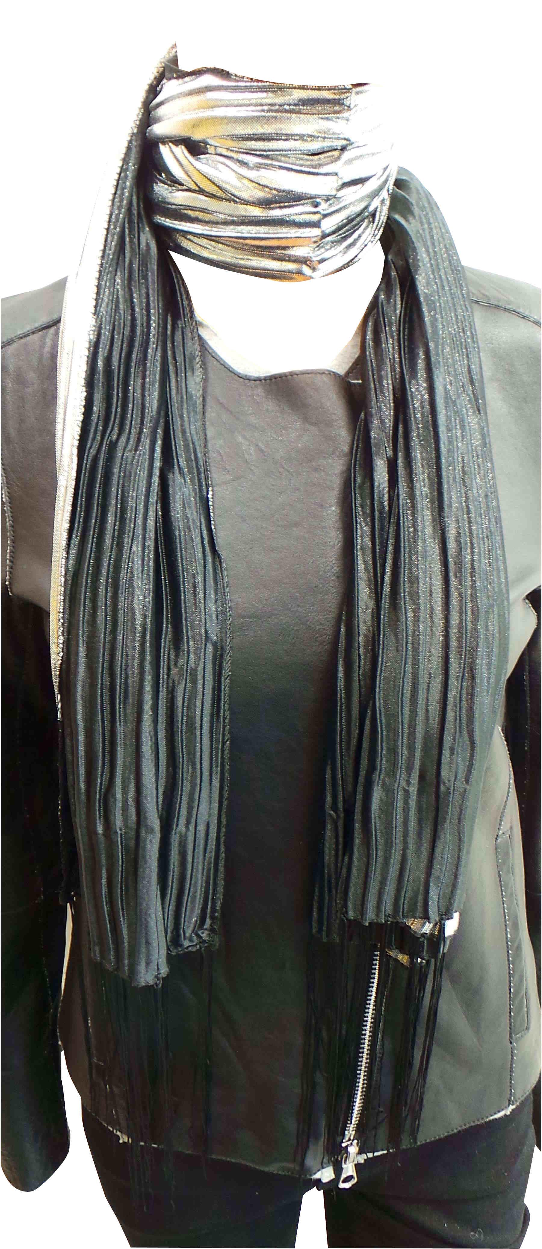 wholesale joblot of 24 metallic black tassel scarves