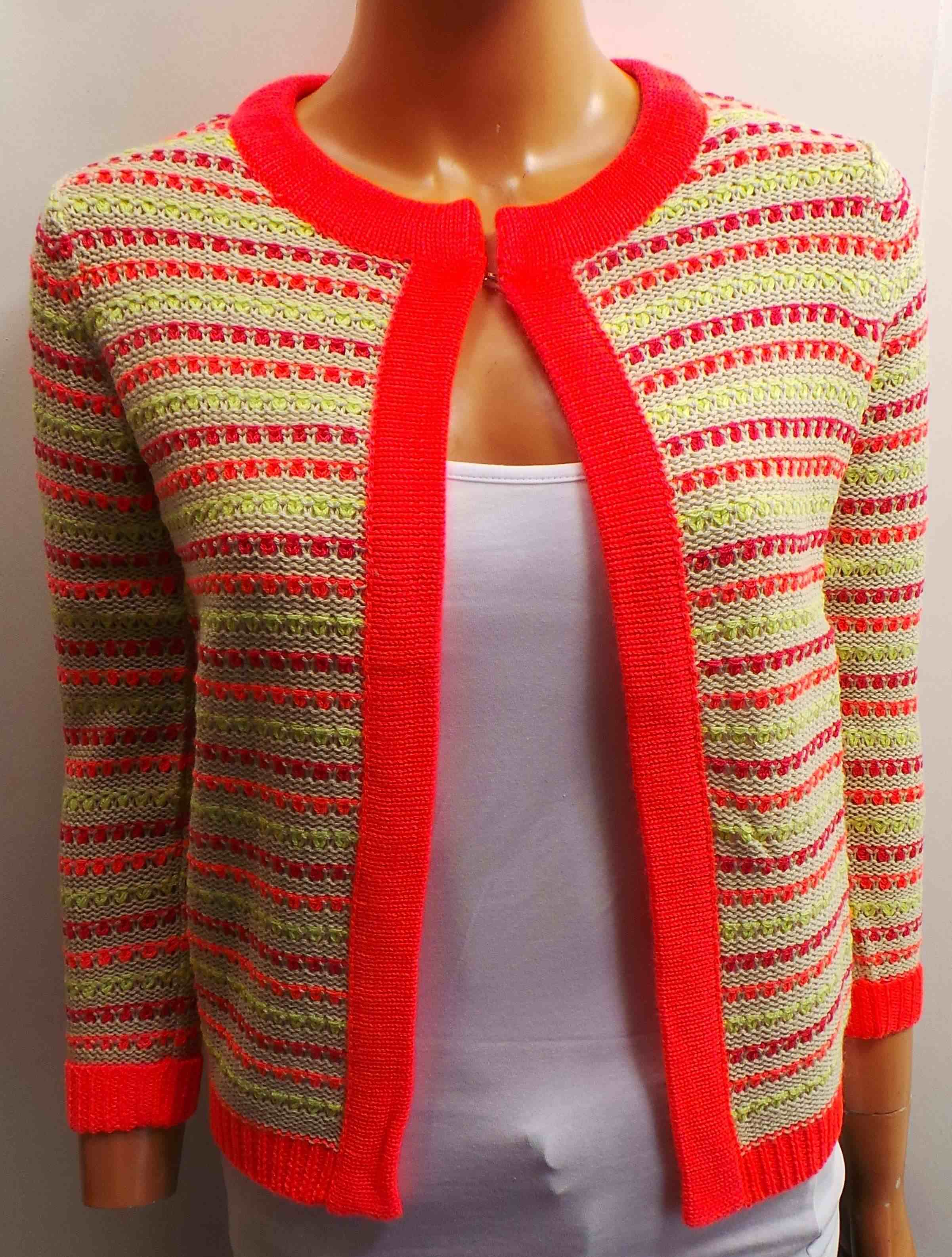 One Off Joblot of 13 Ladies Colourful Striped Cardigans Sizes 8-18