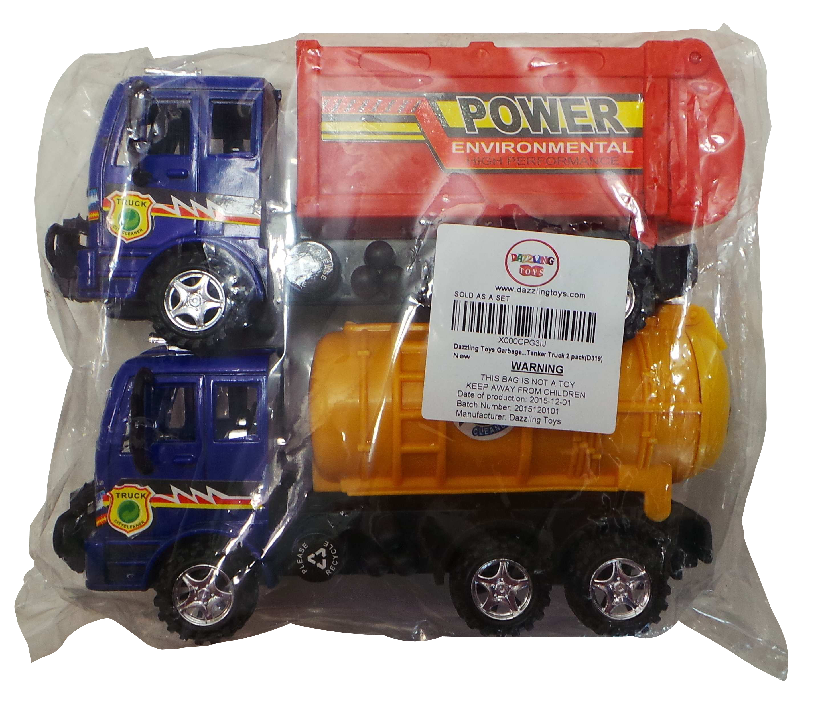 Wholesale Joblot of 20 Dazzling Toys Garbage & Tanker Truck Toy Sets