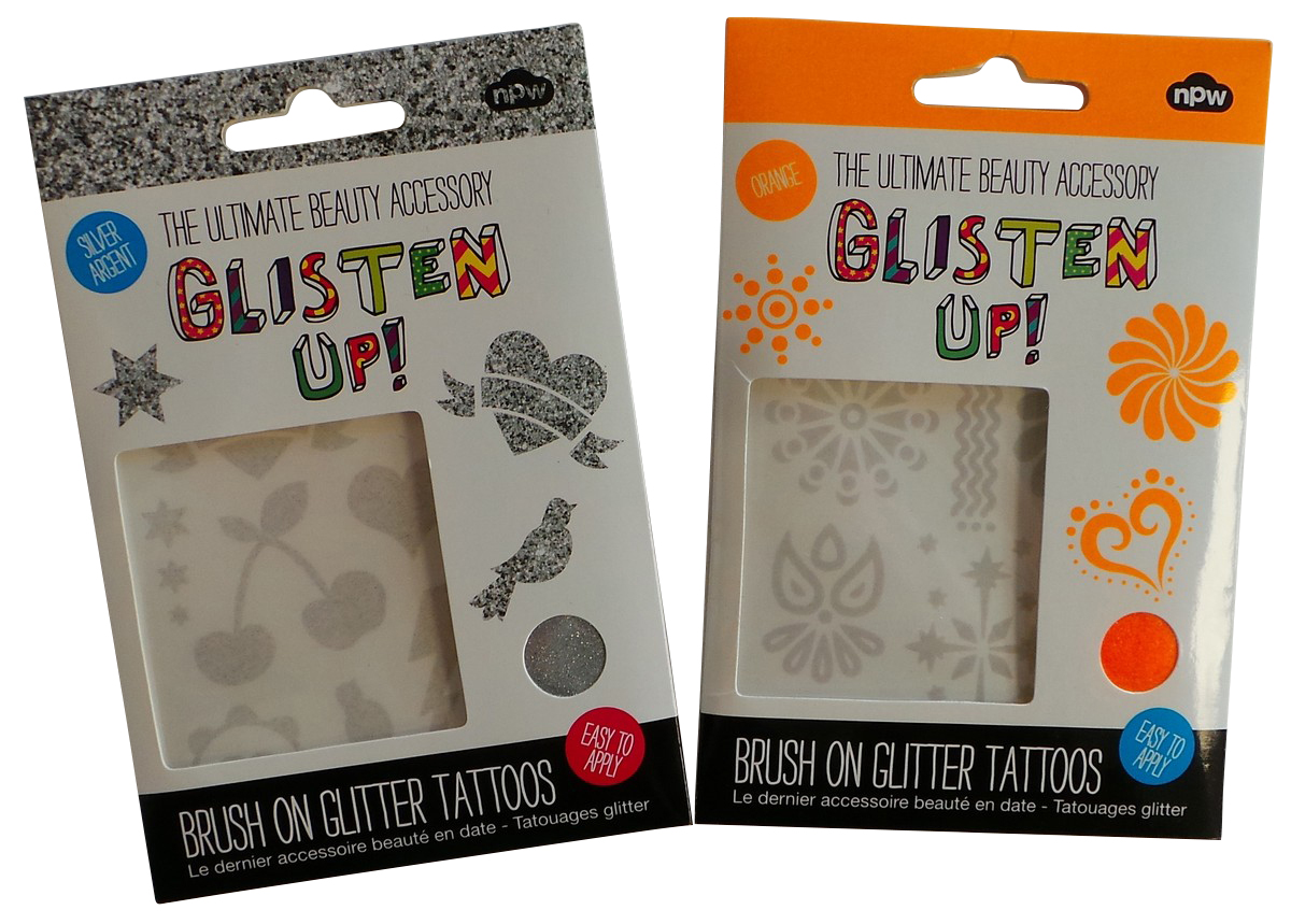 Wholesale Joblot of 100 NPW Glisten Up Brush On Glitter Tattoos Silver &  Orange