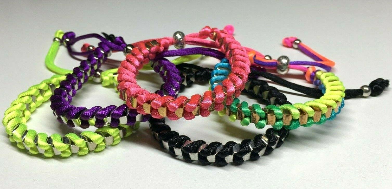 Wholesale Joblot Of 50 Box Link Metal Fabric Bracelets In 5 Colours