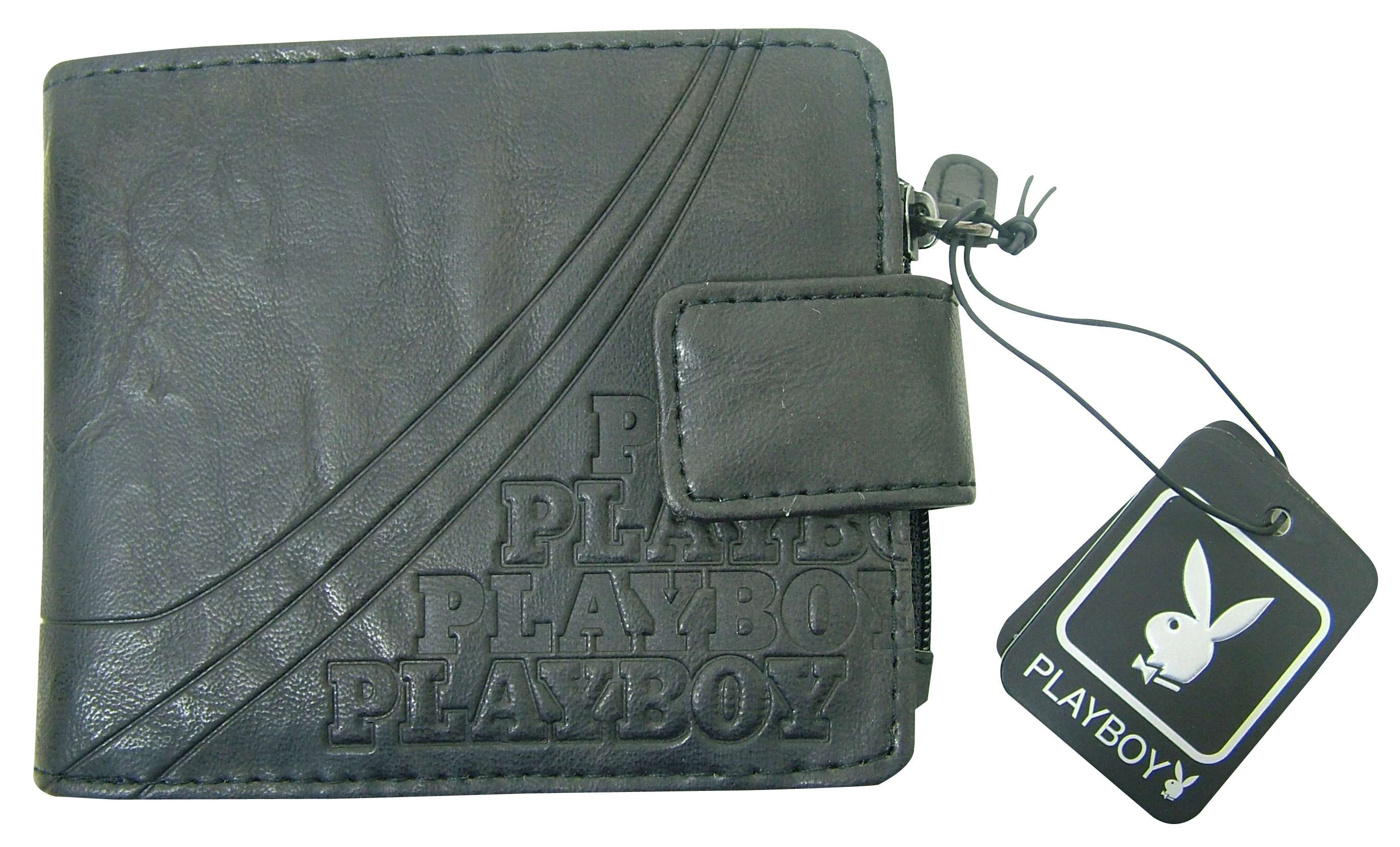 Joblot of 10 Playboy Mens Embossed Layer Black Wallets with Fastening PA4229-BLK